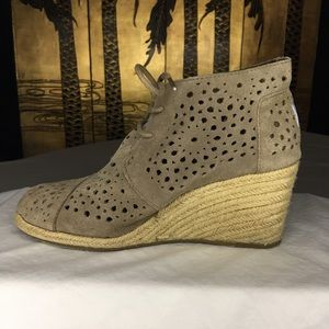 Toms Perforated Suede Espadrille Wedge Booties